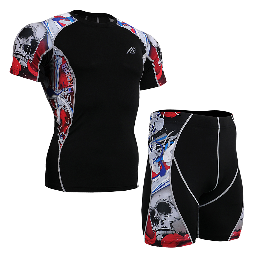 Compression Shirt Skin-Tight  Short Sleeve Shorts Set Runing Suit Gym Men's Training MMA Workout Fitness Yoga Set C2S/P2S-B19R men fitness mma fight shorts