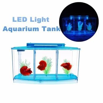Acrylic Aquarium Betta Fish Bowl Led Light Aquarium Incubator Hatchery Breeding Box 3 Splits Fish Tank Turtle Reptile House