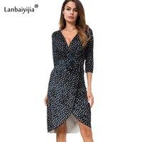 Lanbaiyijia Europa y América caliente v-cuello de las mujeres vestido medio manga dot vestido de terciopelo Oficina señora vestido azul oscuro S m L