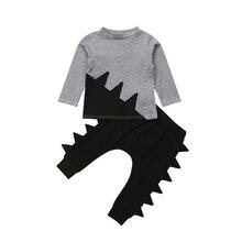 Детская одежда из 2 предметов для мальчиков, осенняя футболка с длинными рукавами и вырезом лодочкой, топы, штаны-шаровары с динозаврами, комплект одежды