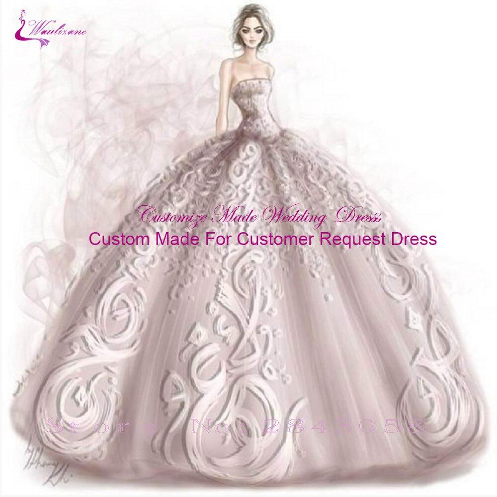 Waulizane Simples Multa de Cetim Elegante A Linha de Vestidos de Noiva Decote V Com Cintas de Espaguete Vestidos de Noiva