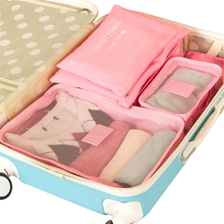 Korean style 6 pcs/set Travel Packing organizers waterproof Nylon Luggage Suitcase Pouch Clothes finishing package accessories
