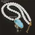 Natural crystal blue druzy stone necklace,white round pearl beads with drusy quartz stone pendant necklace