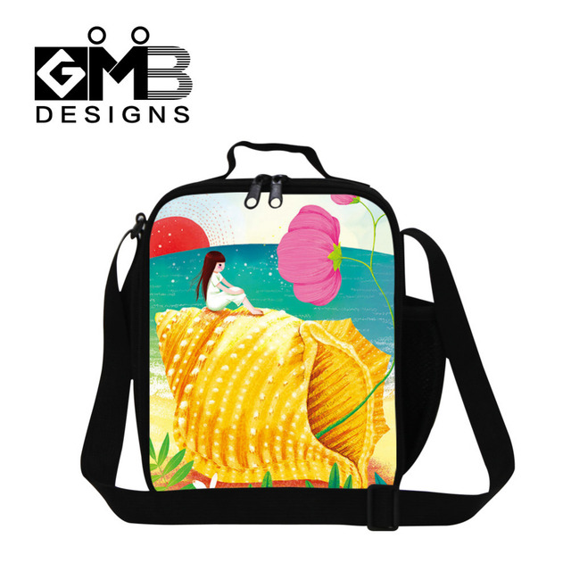 Insulated Thermal Lunch Bag Illustration Ocean Girl With Shell Thermal Insulated Cooler Bags Lunch Bags For Children Food Bolsas