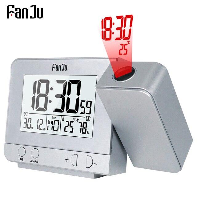 FanJu FJ3531 проекционный будильник цифровые часы с функцией повтора даты подсветка проектор стол настольные светодиодные часы с проекцией врем...