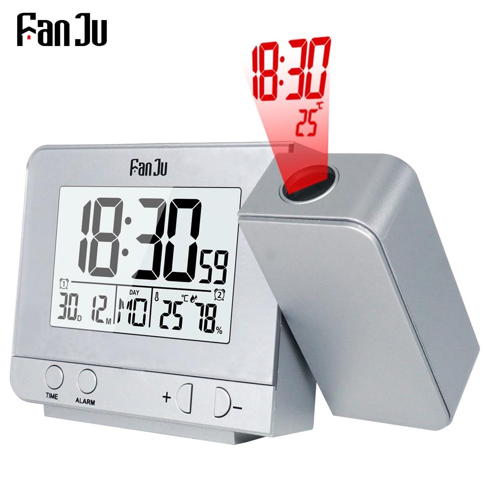 Будильник с проектором FanJu FJ3531, цифровые настольные часы с ЖК-дисплеем, датой, подсветкой, функцией повтора и проекцией времени