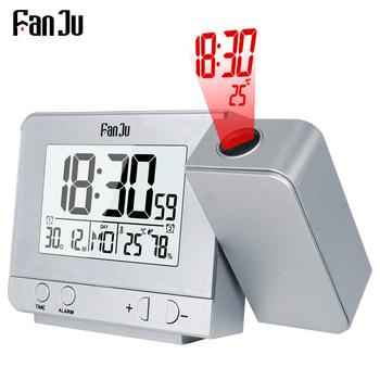 FanJu FJ3531 alarm z projekcją zegar cyfrowy data funkcją drzemki podświetlenie projektor biurko stół zegar led z projekcją czasu tanie i dobre opinie Europa DIGITAL Z tworzywa sztucznego 30mm Plac 280g Projekcja 135mm Budziki Pojedyncze twarzy 80mm Luminova Kalendarze