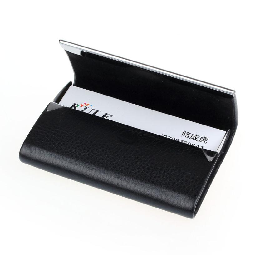 2016 Brand New Leather Business Credit Card Name Id Card Holder Case Wallet Box porte carte Dropshipping 2017 new top brand pu thin business id credit card holder wallets pocket case bank credit card package case card box porte carte