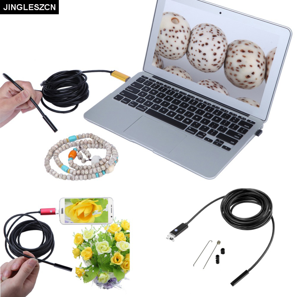 JINGLESZCN 2 In 1 USB Endoscope Cam 8mm Lens Dia 2m 5m 10m Waterproof IP67 Inspection Borescope Snake Camera For Windows Android