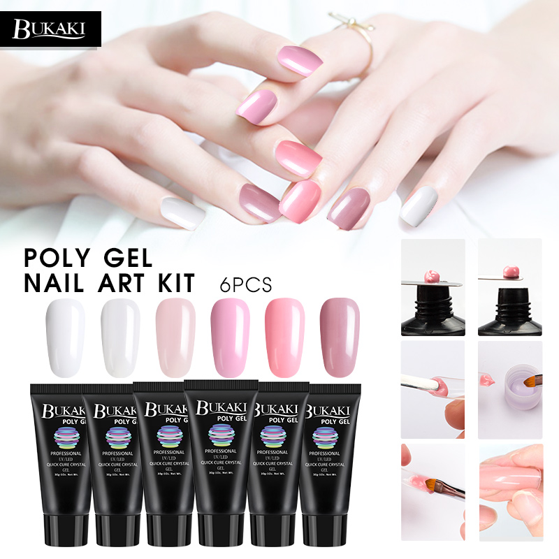 BUKAKI 6 Colors Poly Gel Set Fast Dry Builder Extension Lacquer Camouflage UV LED Lacquer Jelly Gel Polish Manicure Kits