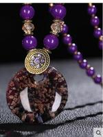 Long Retro Jewelry Girl Female Folk Style Retro Sweater Chain Long Crystal Bead Necklace Pendant All
