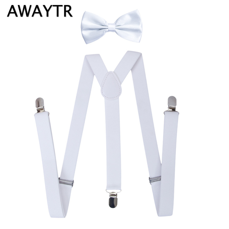2 PCS/Lot AWAYTR New Teenages Suspenders Set White Color Adjustable Braces Large Boys&Girls Clips-on Belts Bow Ties Suspenders