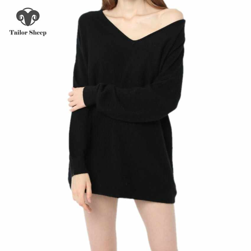 sweater women 100% pure cashmere ladies loose v-neck long sleeve knitting pullover oversized wool tops