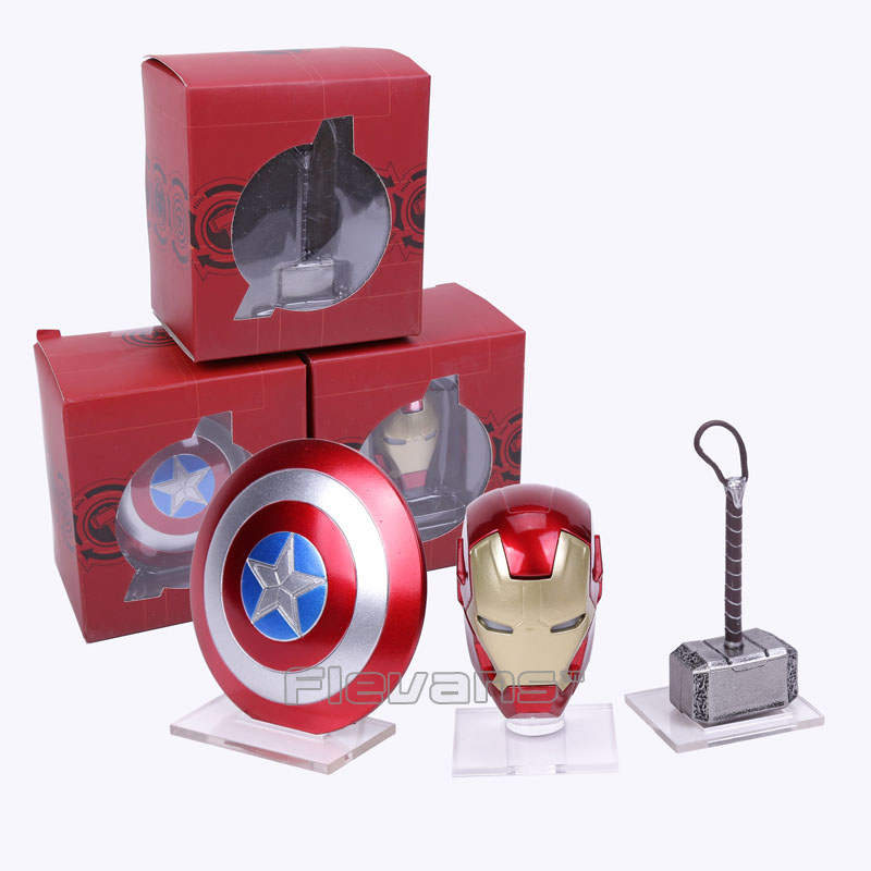 Avengers Super hero Mini Weapons Captain America Shield + Iron Man Helmet + Thor Hammer Figures Model Toys with LED Light Set 翻轉 貓 砂 盆