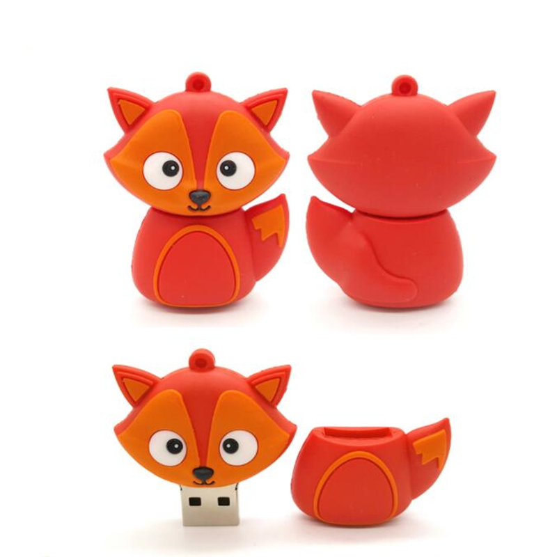 Flash Memory Stick Cartoon Animal Usb Flash Drive 128GB Fox/Horse/Robot Pen Drive 32GB 64GB 16G Usb Flash Pendrive Free Shipping