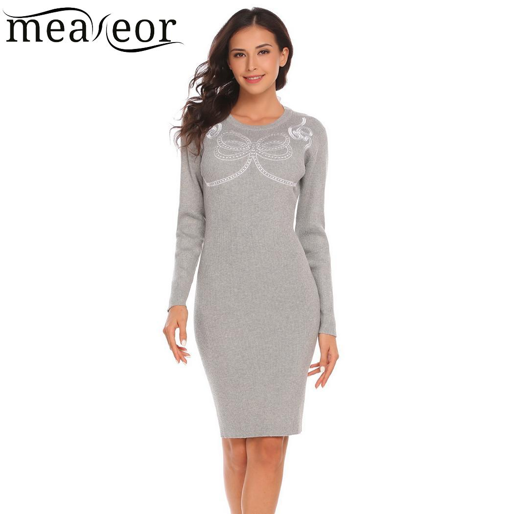 meaneor Sexy Casual V-Neck Long Sleeve Package Hip Knitted Women Sweater Pullover Dress