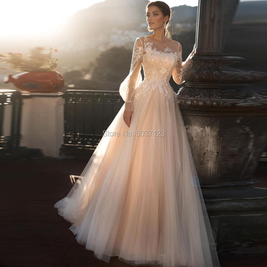 Champagne A Line Wedding Dresses 2020 Vestido De Noiva Beach Long Puff Sleeves Lace Appliques Lace Up Buttons Back Bridal Gowns