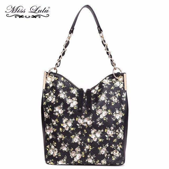 Miss Lulu Brand Women Shoulder Bag Ladies PU Leather Flower Print Handbags  Girls Fashion Top-Handle Bags Female Soft Tote YD1741 693ef2e2275c1