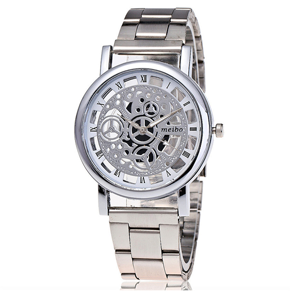 MEIBO Women Fashion Hollow Out Watch Casual Bracelet Quartz Watch Clock 2066 silver chic faux crystal leaf hollow out bracelet for women