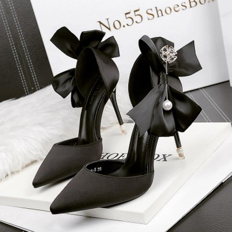 Marée Chaussures rouge blanc Talons argent Peu Sauvage À Sandales Printemps Sexy Profonde Mince Noir Nouveau 2018 Mode Hauts Femme Bouche pZHxT