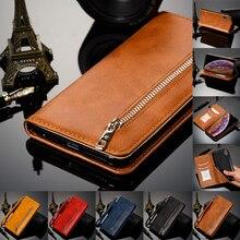 Funda billetera de cuero con tapa magnética para Apple iPhone Xs Max X Xr 8 7 6 6s Plus Folio soporte con ranura para tarjeta de crédito