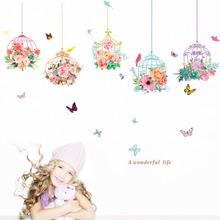 Life Colorful Flower Birdcage Wall Stickers For Living Room Bedroom Decoration Wonderful Butterfly Home DIY Art Decal