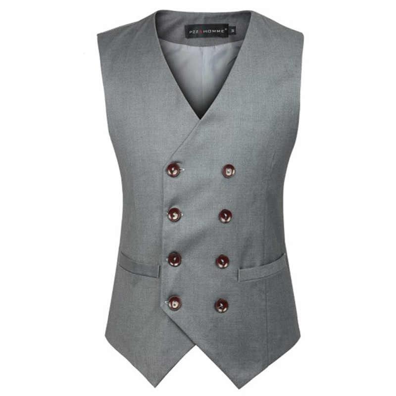 Chaleco de moda de doble botonadura para hombre 2018 nuevo chaleco sin mangas de marca para hombre ajustado para fiesta de boda chalecos de negocios Gilet Homme