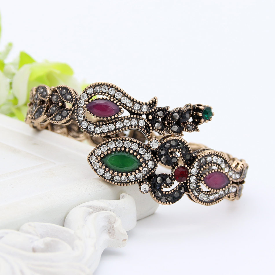 Turki Vintage Tulip Bunga Adjustable Bangle Manset Warna Emas Antik - Perhiasan fashion - Foto 4