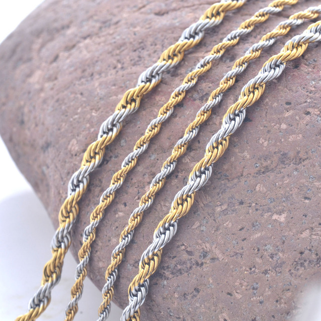 Stainless Steel & Gold Twisted Rope Chain