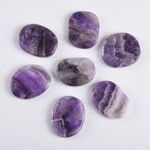 Big Amethyst Palm Stone Hot Energy Stones Healing Massage 46*36 mm Natural Chakra 7 pcs/Set SPA Reik
