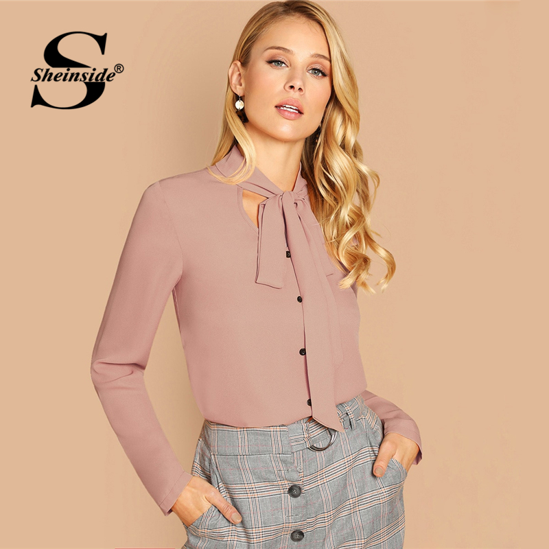 Sheinside Pink Tie Neck Button Solid Top Women Long Sleeve Chiffon   Blouse     Shirt   2019 Slim Fit Elegant Womens Tops and   Blouses