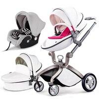 3pcs Original hot mum baby strollers 3 in 1 baby pram seven colors in stock including car seat newborn gift luxury bebe car
