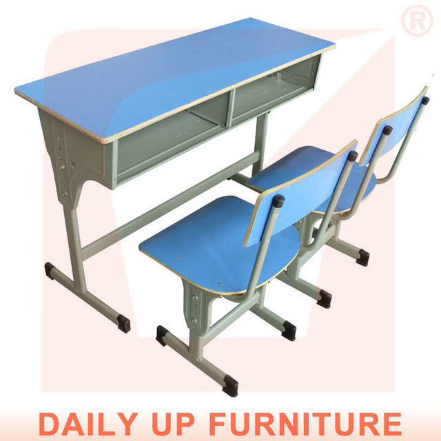 Double School Desk With Chairs Student Wooden Study Table Designs
