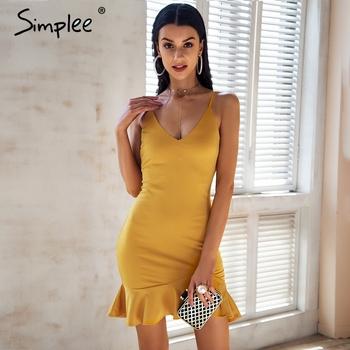 42c1d2ca6475 Custom Review Simplee Sexy v neck ruffle strap mini dress women Skinny  black mermaid dress 2018 Summer dress bodycon party vestido