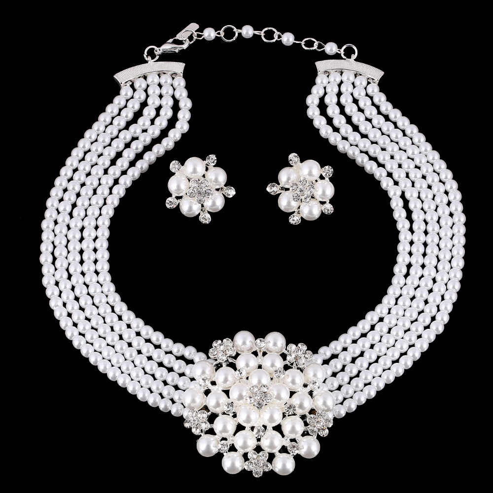 UDDEIN Newest Wedding Bride Necklace Sets Multi-layer Imitation pearl Chain Big Flower Jewelry Sets Women Statement Necklace