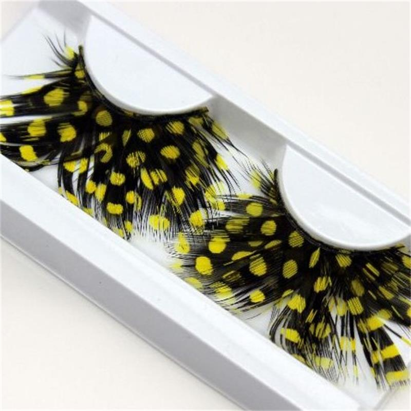 1 Pairs Yellow Feather 3D Fake Eyelash Halloween Natural Stage Art Costume Party Exaggerated Eyelashes Makeup Tools Y04