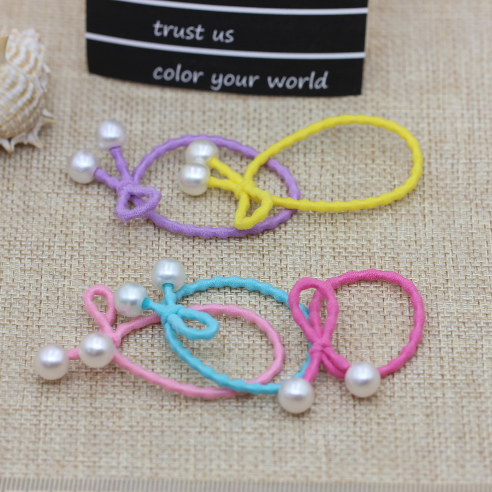 isnice 50pcs Children Imitation pearls bow hair accessories of elastic hair bands High Quality Gum for hair Ornaments wholesaler 50 hanks high quality mongolia stallion white violin bow hair 6 grams hank white horse tails 32 inches