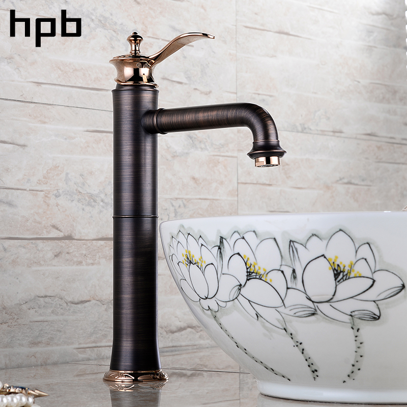 HPB Antique Oil Rubbed Bronze Finished Brass Tall Basin Sink Faucet Bathroom Single Lever Mixer Tap Hot and Cold Water IFC104 micoe hot and cold water basin faucet mixer single handle single hole modern style chrome tap square multi function m hc203