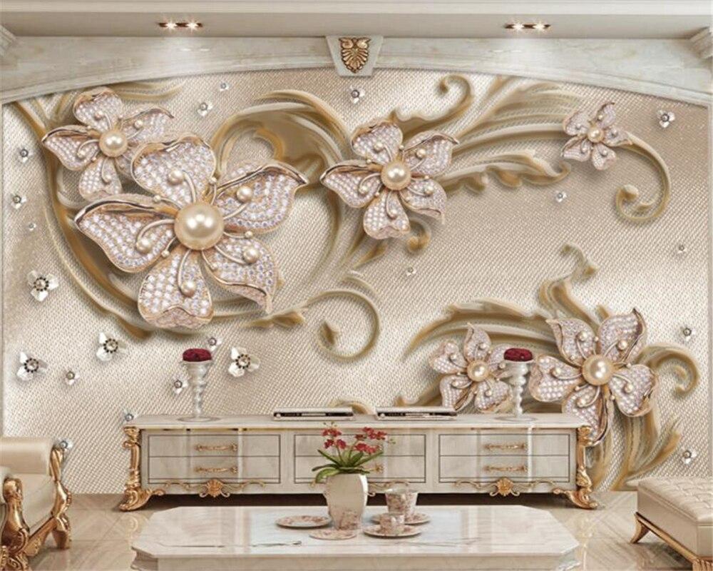 US $8 85 OFF Beibehang Kustom Kamar Keluarga Dinding Dalam Ruangan 3D Wallpaper Mewah Stereo Perhiasan Bunga Dinding Latar Belakang TV Papel De