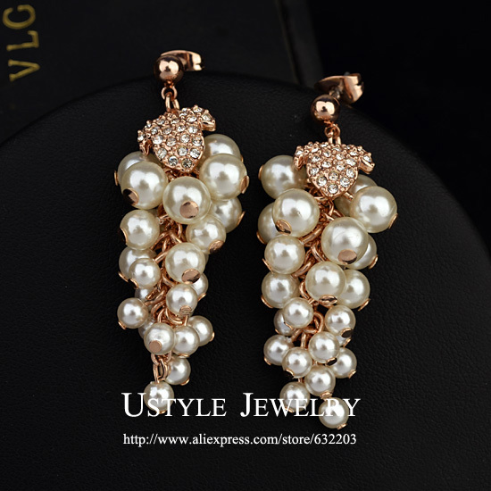 USYTLE Brand Design Pearl Grapes Jewelry Drop Earrings