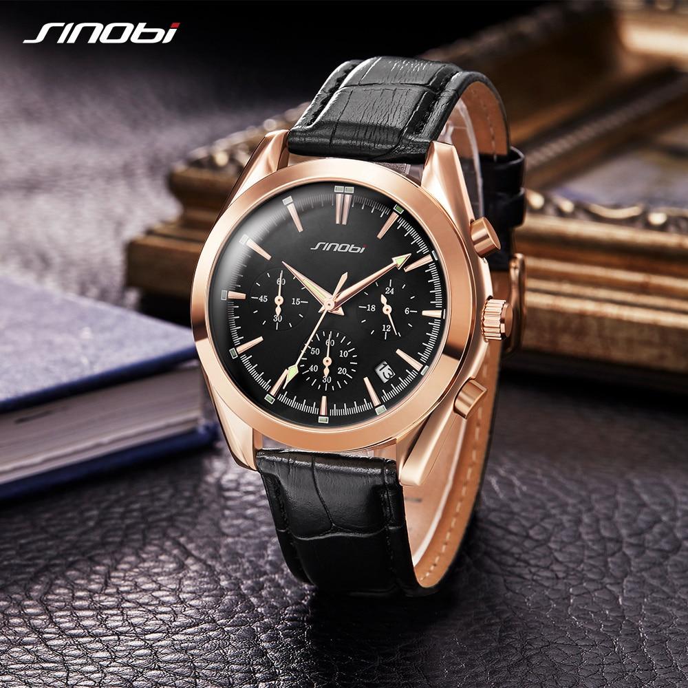 2017 SINOBI Militar Spy Men Wrist Watches Cronograf din piele Watchband Top Brand de lux Sport Masculin Geneva Cuarț ceas 007