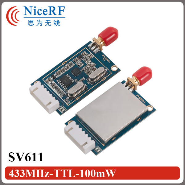 2PCS SV611 -121dBm High Sensitivity Si4432 433MHz TTL Interface Transceiver Module