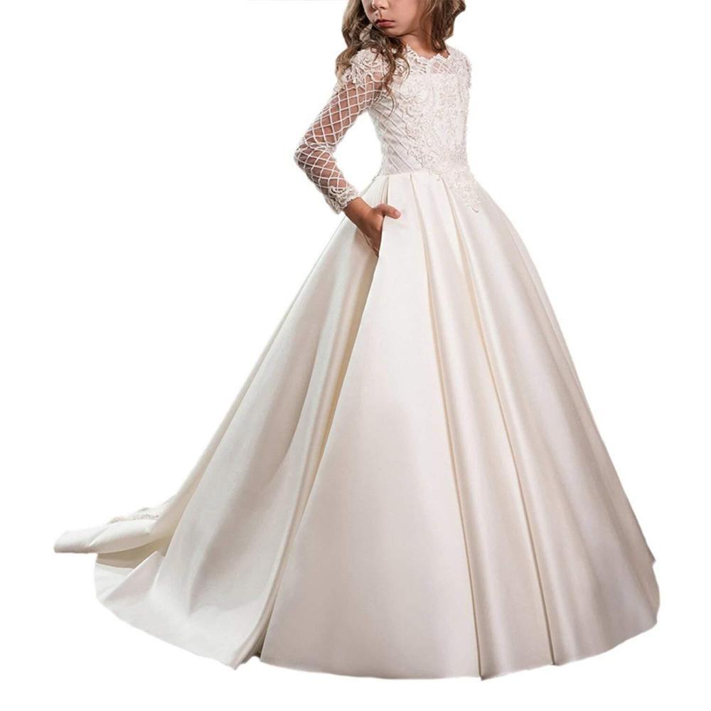 Long White Elegant   Flower     Girl     Dresses   2019 for Weddings Princess Lace Appliques Floor Length Kids Prom   Dress