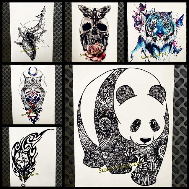 28a2cf621b4e5 Chinese Black Panda Henna Waterproof Fake Temporary Tattoo Henna Women Body  Art Arm Water Transfer Tatoo