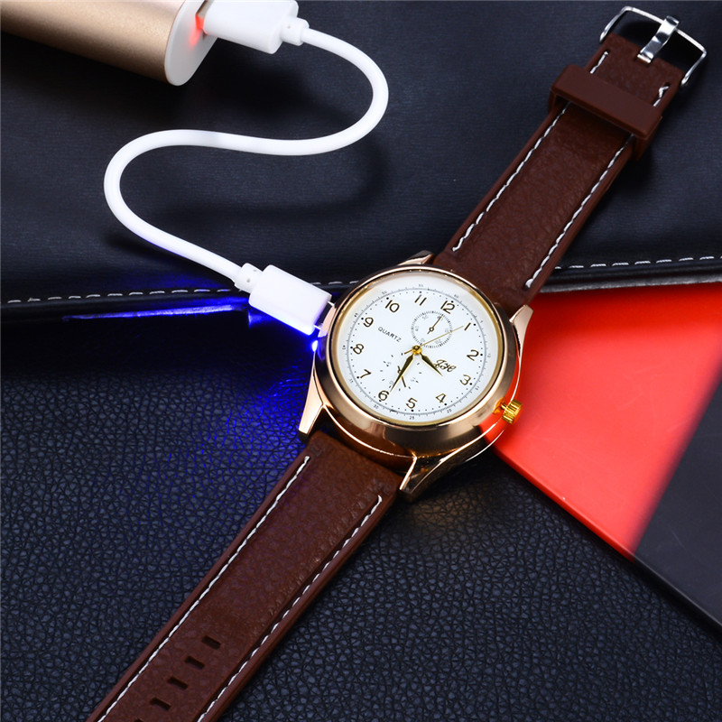 Military Men Watch Lighter USB Charging Cigarette Lighter Rechargeable Windproof Lighters Multifunction Smoker Quartz Watches 40