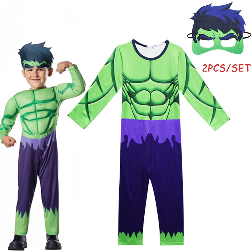 2018 New Avengers Hulk Cosplay Costumes for kids Halloween Carnival Party Cos Jumpsuit Boy Kids Super Hero Clothing with mask