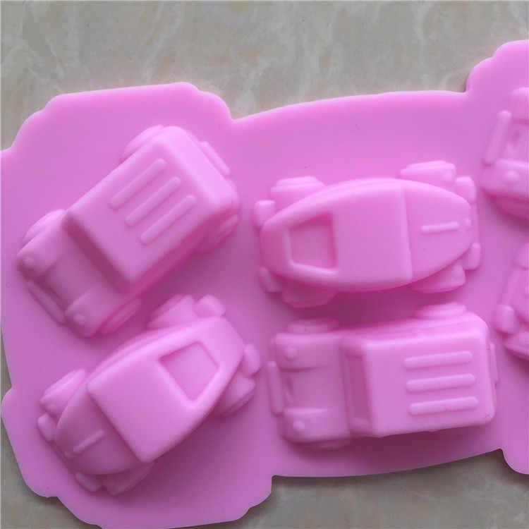 Силиконовая форма в виде мультяшного автомобиля, форма для выпечки шоколада и маффина, форма для выпечки мыла, инструменты для украшения торта Kicthen Fondant