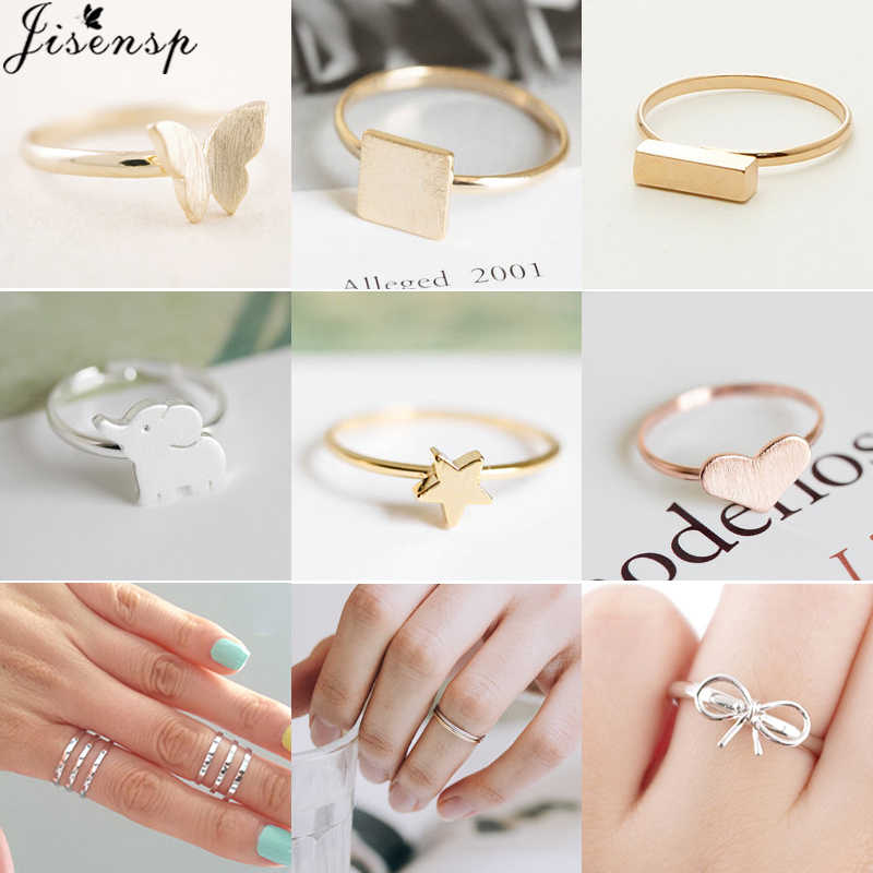 Jisensp Korean Fashion Butterfly Heart Star Rings for Women Minimalism Jewelry Cute Animal Midi Knuckle Ring Vacation Best Gift