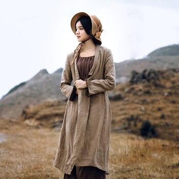0ad9cbf03 LYNETTE S CHINOISERIE primavera otoño diseño Original mujeres Vintage Lino  largo Trench