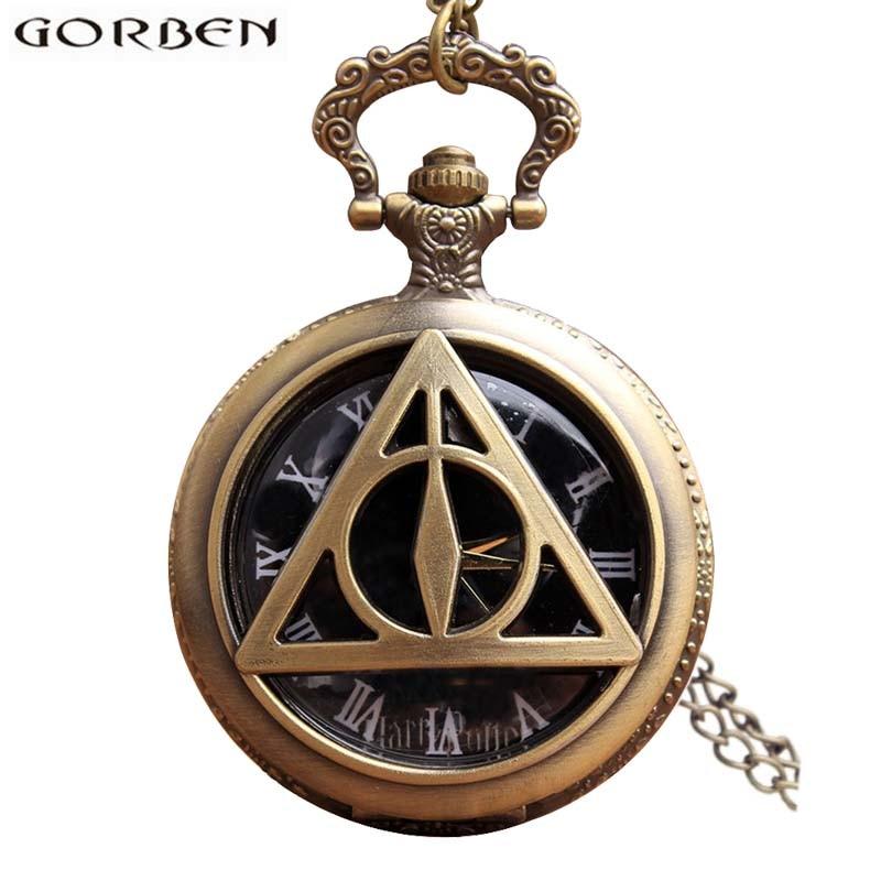 9d55d47f45e Harry Potter Relíquias da morte Relógio de Bolso Antigo Colar Retro Vintage  Quartzo Fob Flip Clock Com Cadeia Para As Mulheres Homens Presente em  Relógios ...